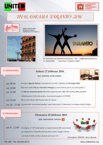 Talassemia Taranto 2016 - Taranto, 27/28 febbraio 2016 - Locandina