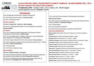 Convegno AVIS: La Cultura del Dono - Cagliari, 15 settembre 2016 - Programma
