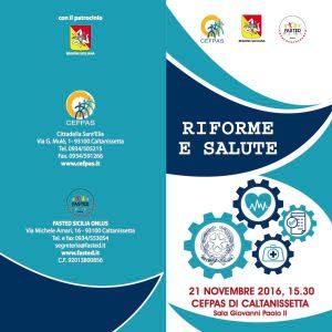 Riforme e Salute - Caltanisetta, 21 novembre 2016 - Pieghevole