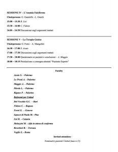 I° United Summer School per Pazienti - Palermo, 5 maggio 2017 - Programma 3
