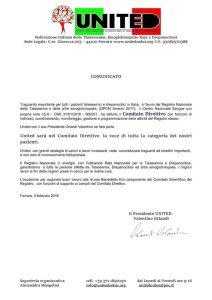 Comunicato United su Registro Nazionale Talassemia ed altre emoglobinopatie