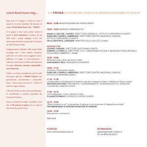 Giornata Mondiale del Donatore di Sangue - Roma, 16 giugno 2016 - Programma
