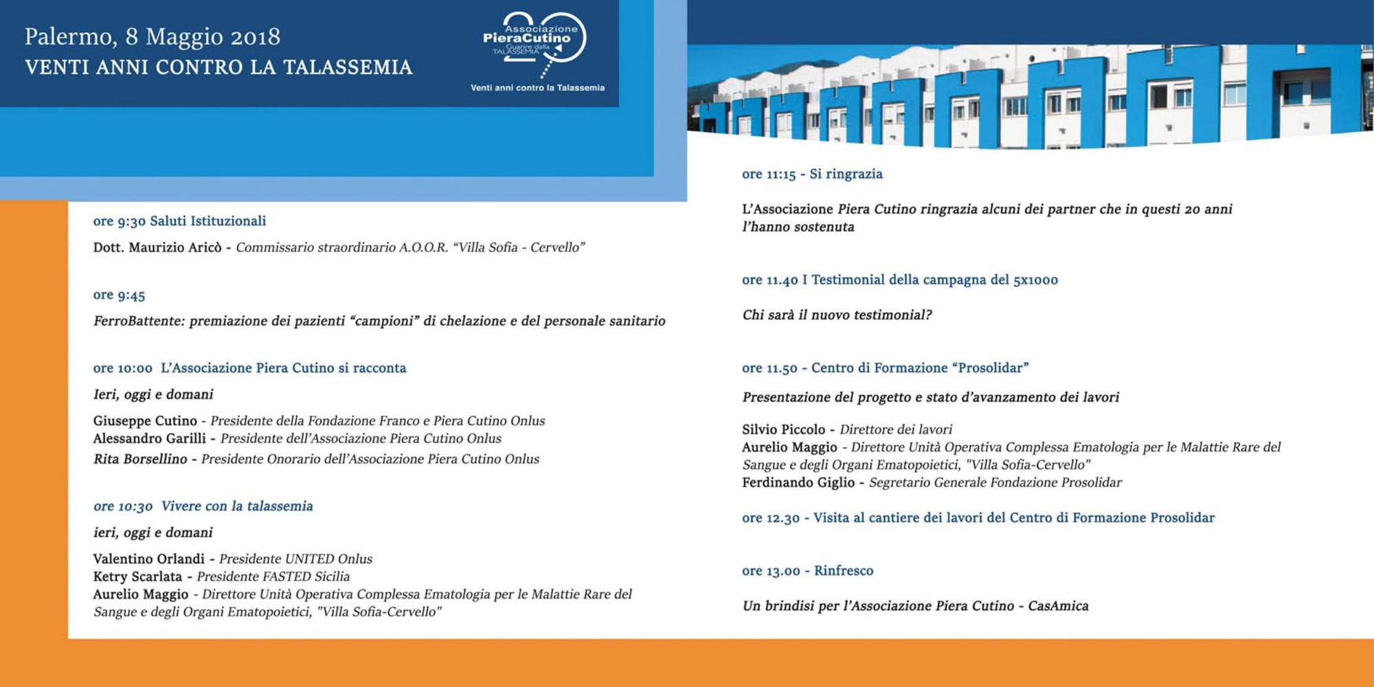 Venti anni contro la Talassemia | Programma - Palermo, 8 maggio 2018